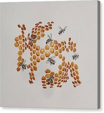 Canvas Print featuring the painting Bee Hive # 2 by Katherine Young-Beck