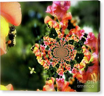 Bee On Snapdragon Flower Abstract Canvas Print by Smilin Eyes  Treasures