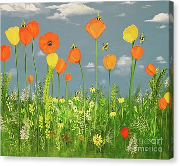 Bee-utiful Day Canvas Print by Carol Sweetwood