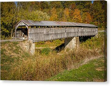 Beech Fork Or Mooresville Covered Bridge Canvas Print