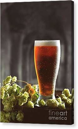 Beer And Hops On Barrel Canvas Print