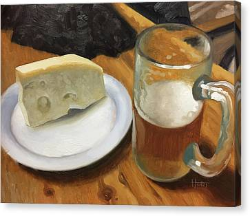 Beer And Jarlsberg Canvas Print by Timothy Jones
