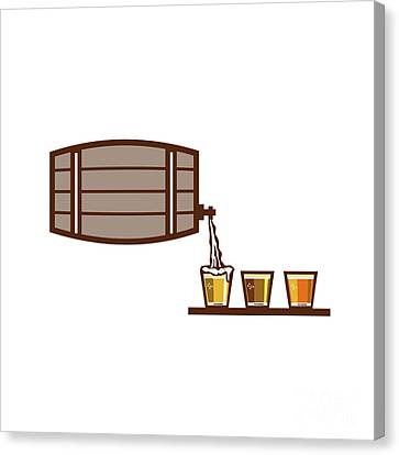 Beer Flight Keg Pouring On Glass Retro Canvas Print