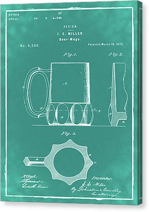 Beer Mug 1873 In Green Canvas Print by Bill Cannon