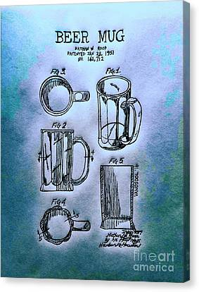 Beer Mug 1951 Patent - Blue Abstract Canvas Print by Scott D Van Osdol