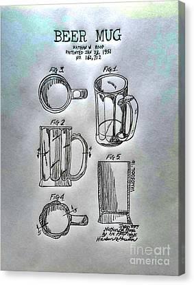 Beer Mug 1951 Patent - Silver Abstract Canvas Print by Scott D Van Osdol