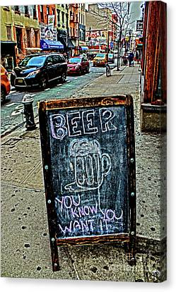 Canvas Print featuring the photograph Beer Sign by Sandy Moulder