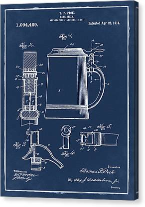 Beer Stein Patent 1914 In Blue Canvas Print