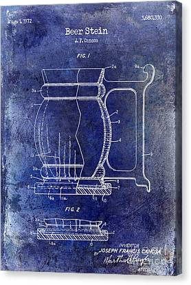 Beer Stein Patent Blue Canvas Print by Jon Neidert