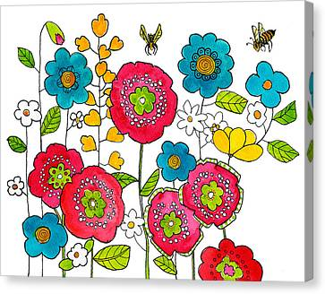 Bees And Flowers Canvas Print