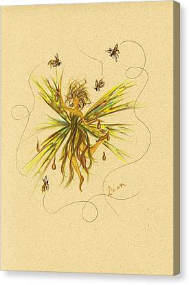 Canvas Print featuring the drawing Bees To Honey by Dawn Fairies