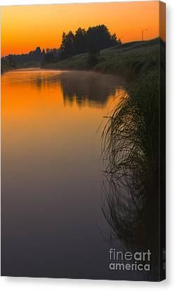 Before Sunrise On The River Canvas Print by Veikko Suikkanen