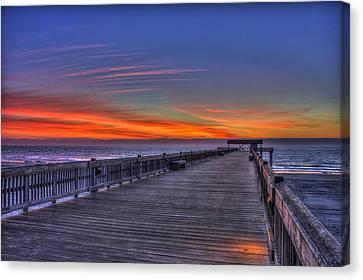 Before The Dawn Tybee Island Pier Canvas Print by Reid Callaway