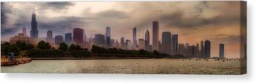 Before The Spring Storm Chicago Lakefront Panorama 04 Canvas Print by Thomas Woolworth