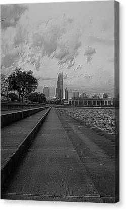 Before The Spring Storm Chicago Shedd Aquarium Eastside Bw Vertical Canvas Print by Thomas Woolworth