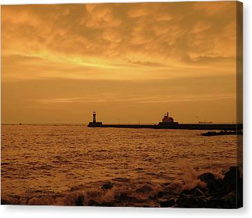 Duluth Canal Park Canal Park Lighthouse Lighthouse Lake Superior Minnesota Canvas Print - Before The Storm by Alison Gimpel