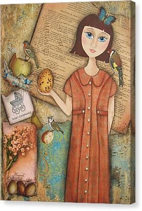 Ephemera Canvas Print - Beginnings by Kathy Cameron