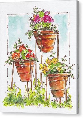 Blue Begonia Canvas Print - Begonia Triplets by Pat Katz
