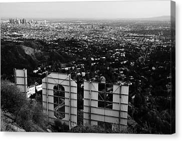 Behind Hollywood Bw Canvas Print by James Kirkikis
