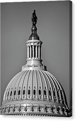 Canvas Print featuring the photograph Behind Liberty In Black And White by Chrystal Mimbs