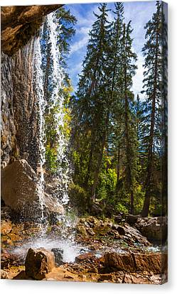 Behind Spouting Rock Waterfall - Hanging Lake - Glenwood Canyon Colorado Canvas Print by Brian Harig