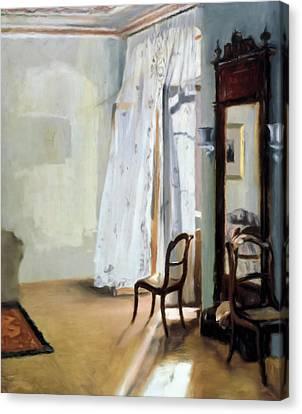 Curtains Canvas Print - Behind The Curtain by Georgiana Romanovna