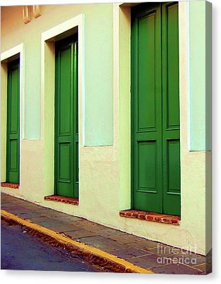 Behind The Green Doors Canvas Print by Debbi Granruth