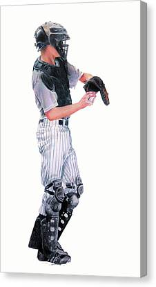 Baseball Uniform Canvas Print - Behind The Plate by Catherine Henry