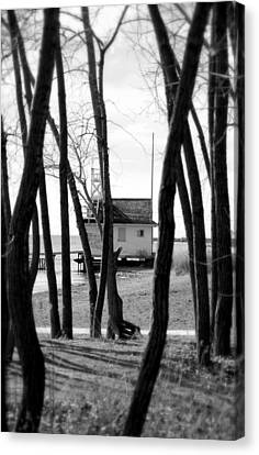 Canvas Print featuring the photograph Behind The Trees by Valentino Visentini