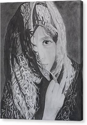 Canvas Print featuring the drawing Behind The Veil by Quwatha Valentine
