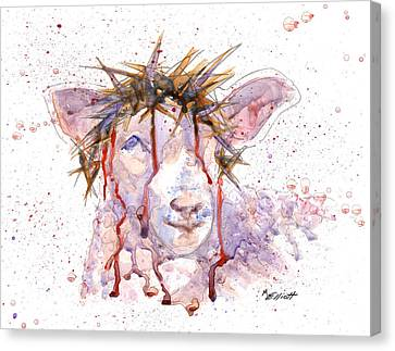 Lamb Canvas Print - Behold The Lamb by Marsha Elliott