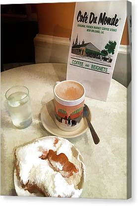 Beignet And Coffee At Cafe Du Monde Canvas Print by Art Spectrum