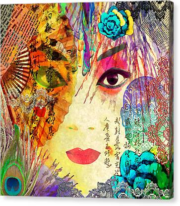 Singing Canvas Print - Beijing Opera Girl  by Stacey Chiew