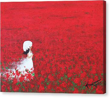 Being A Woman - #2 In A Field Of Poppies Canvas Print by Kume Bryant