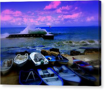 Beirut Seaside Waves Canvas Print by Funkpix Photo Hunter