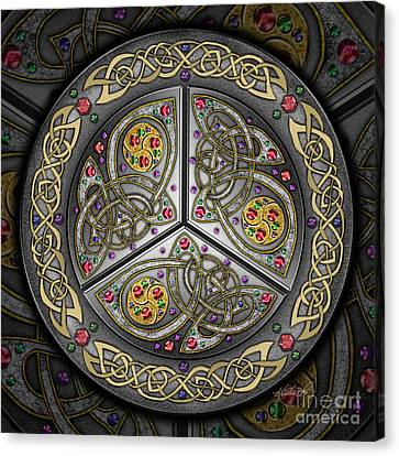 Bejeweled Celtic Shield Canvas Print by Kristen Fox