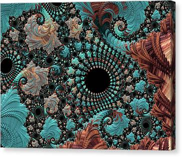 Canvas Print featuring the digital art Bejeweled Fractal by Bonnie Bruno