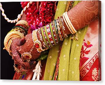 Bejewelled Bride With Henna Hands At Mumbai Wedding Canvas Print by Gerard Walker