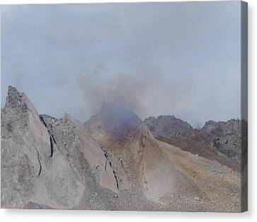 Volcano Rock Canvas Print - The Dome Of Mt St Helens Belching Smoke by Jeff Swan