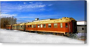 Belfast Canvas Print - Belfast And Moosehead Railroad Cars In Winter by Olivier Le Queinec