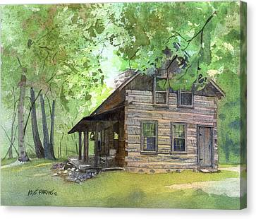 Canvas Print featuring the painting Belgian Cabin by Kris Parins
