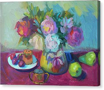 Canvas Print featuring the painting Belgian Creamer And Sugar by Diane McClary