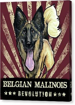 Canvas Print - Belgian Malinois Revolution by John LaFree