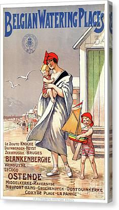 Belgium Ostende Vintage Travel Poster Restored Canvas Print by Carsten Reisinger