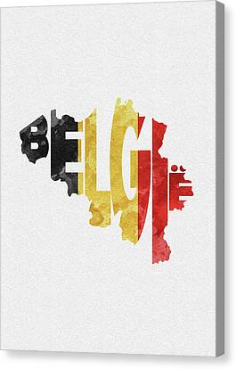 Dirty Canvas Print - Belgium Typographic Map Flag by Inspirowl Design