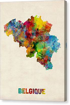 Belgium Watercolor Map Canvas Print