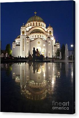 Canvas Print featuring the photograph Belgrade Serbia Orthodox Cathedral Of Saint Sava  by Danica Radman
