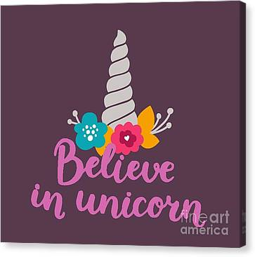 Unicorns Canvas Print - Believe In Unicorn by Edward Fielding