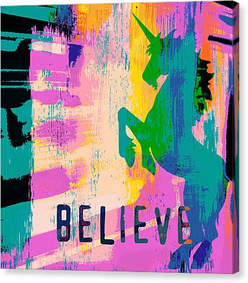 Believe In Unicorns Canvas Print by Brandi Fitzgerald