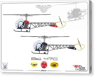 Canvas Print featuring the digital art Bell 47g by Amos Dor